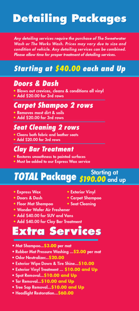 Car Detailing Prices >> Car Detailing Services Sweetwater Car Wash